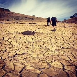 Dry, dry lake sides. The cracks were 1' deep.